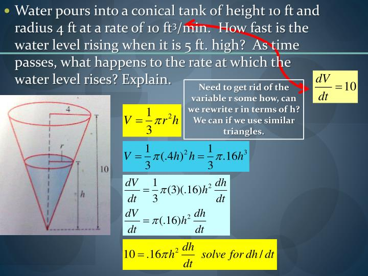 Water pours into a conical tank of height 10 ft and radius 4 ft at a rate of 10 ft