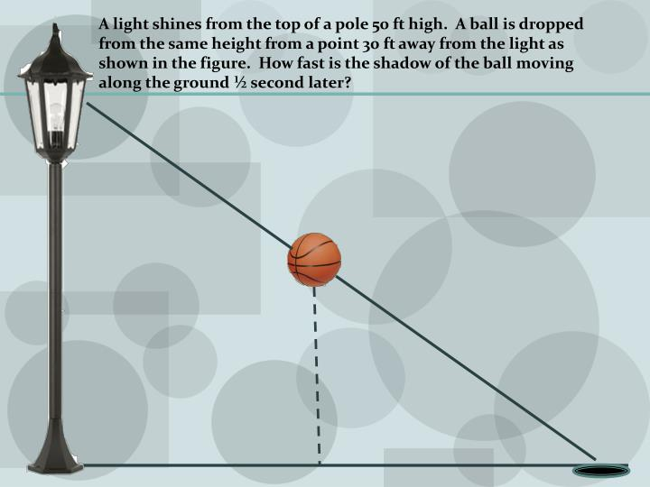 A light shines from the top of a pole 50 ft high.  A ball is dropped from the same height from a point 30 ft away from the light as shown in the figure.  How fast is the shadow of the ball moving along the ground ½ second later?