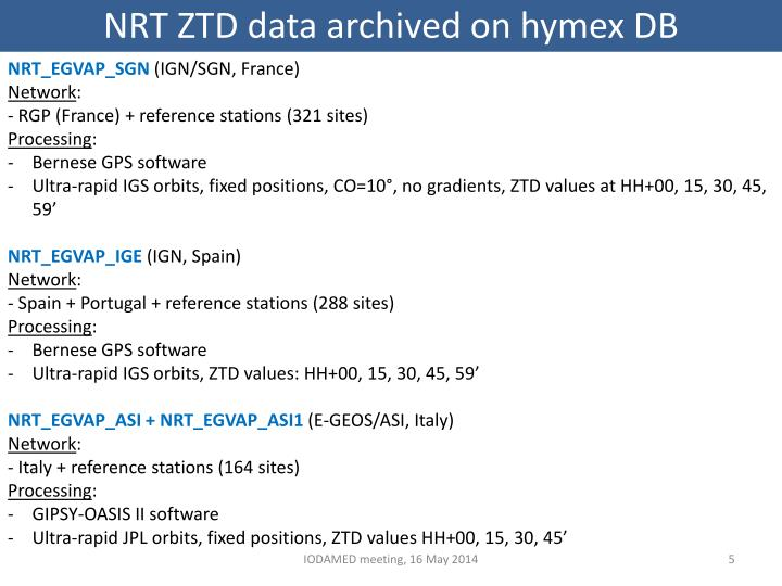 NRT ZTD data archived on hymex DB