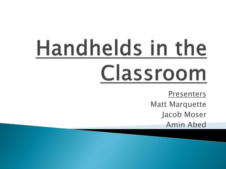 handhelds in the classroom n.
