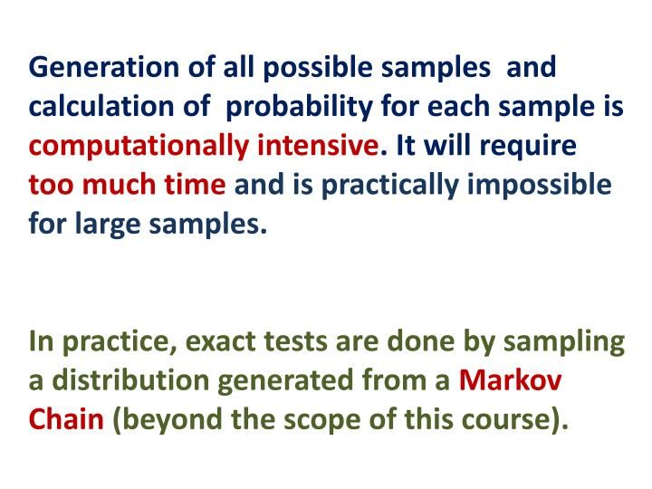 Generation of all possible samples  and calculation of  probability for each sample is