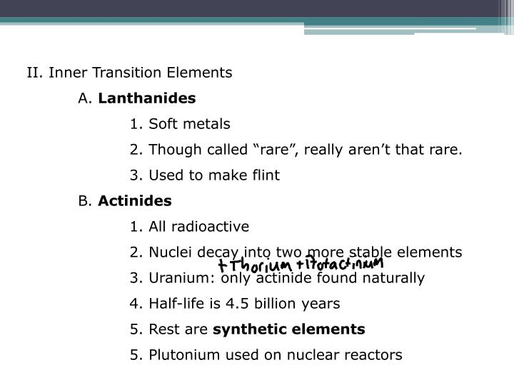 II. Inner Transition Elements