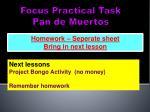 focus practical task pan de muertos