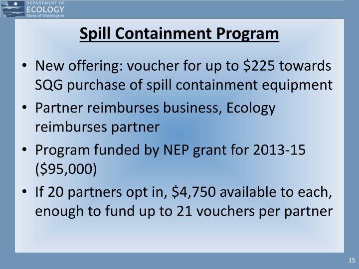 Spill Containment Program