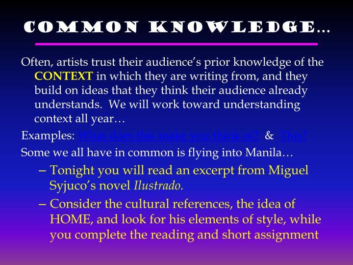 Common Knowledge…