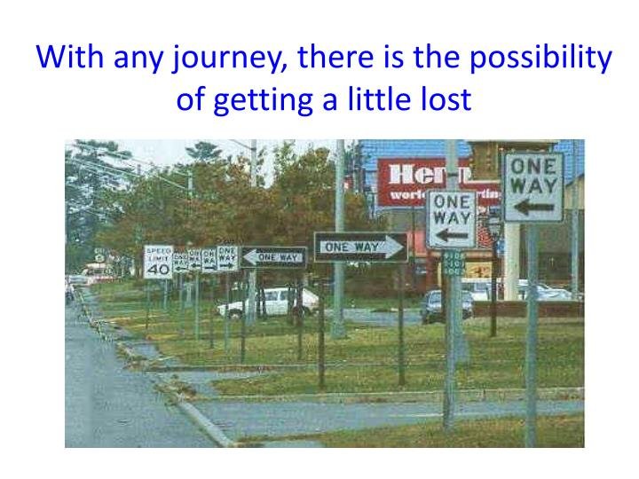 With any journey there is the possibility of getting a little lost
