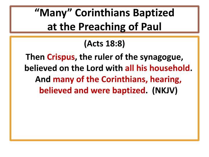 """""""Many"""" Corinthians Baptized"""
