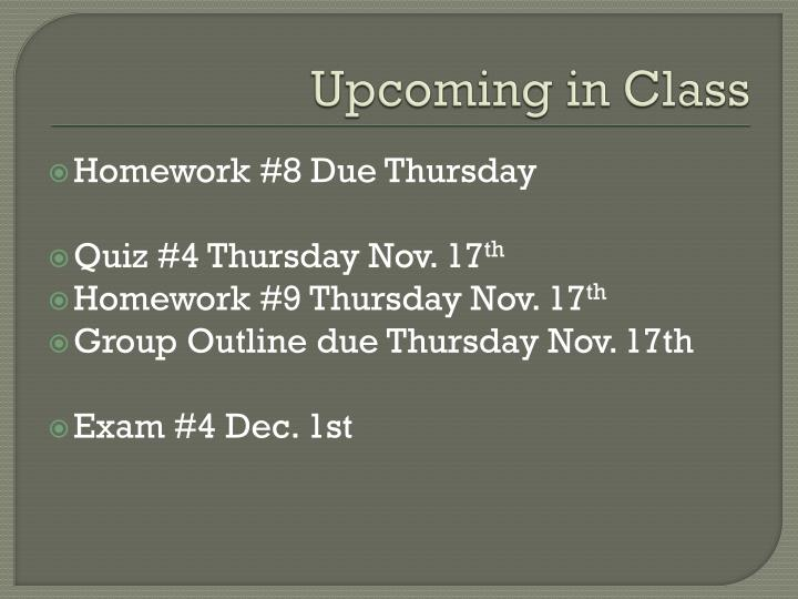 upcoming in class n.