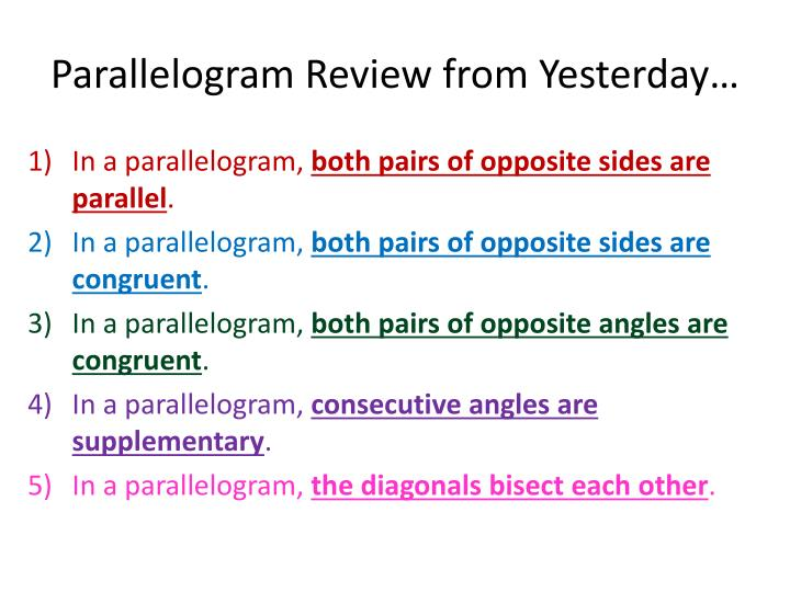 parallelogram review from yesterday n.