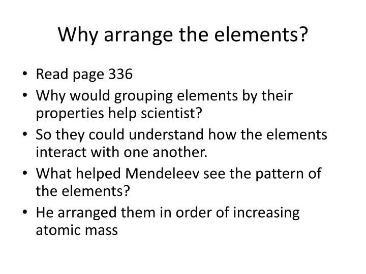 Why arrange the elements