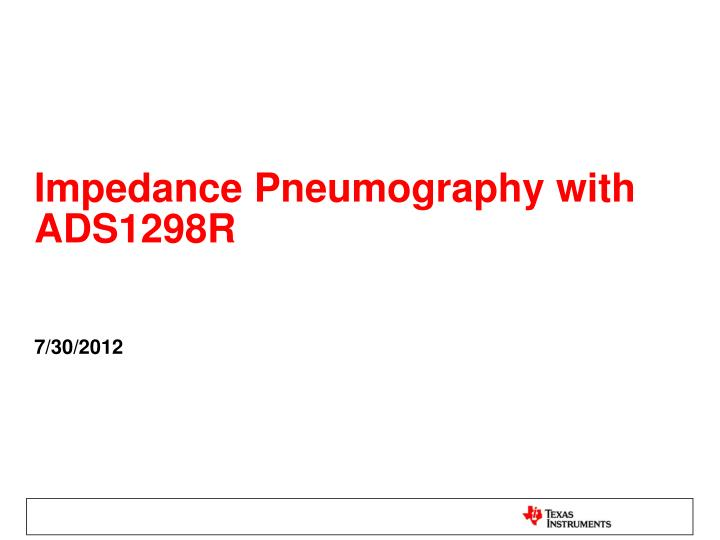 impedance pneumography with ads1298r n.
