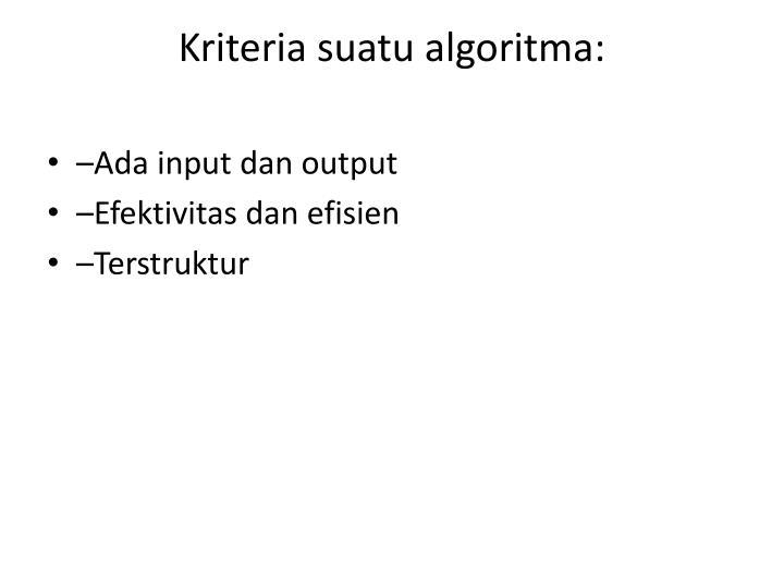 Kriteria suatu algoritma