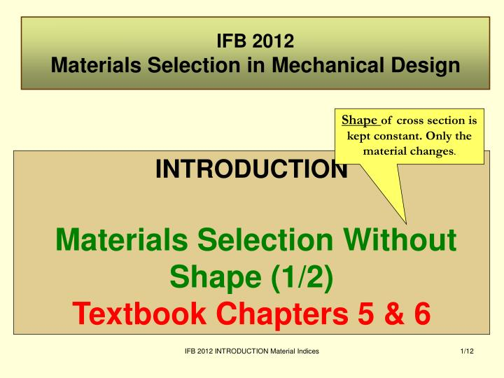ifb 2012 materials selection in mechanical design n.