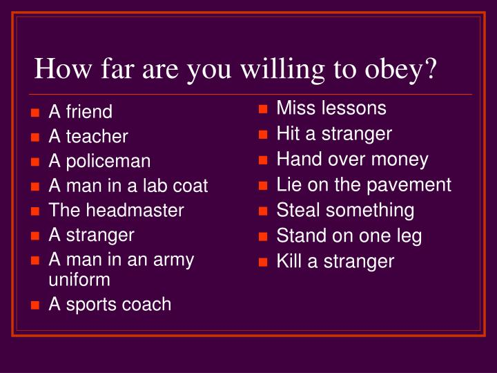 how far are you willing to obey n.