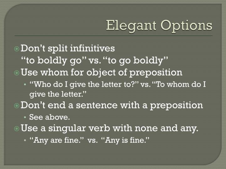 Elegant Options