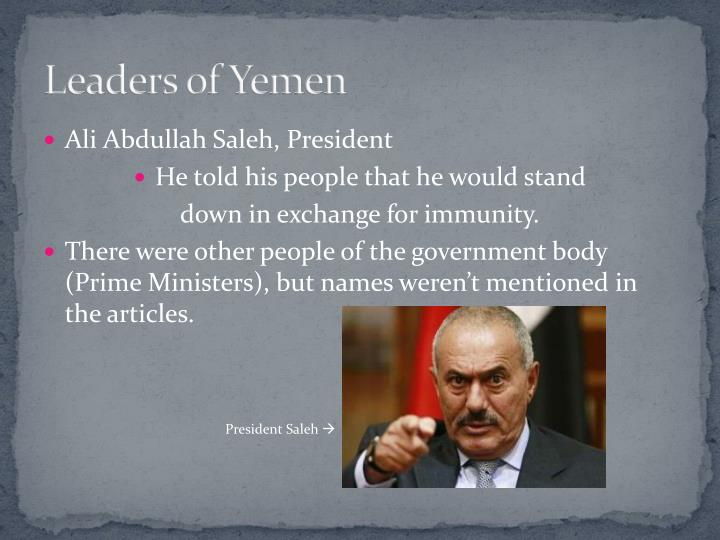 Leaders of yemen