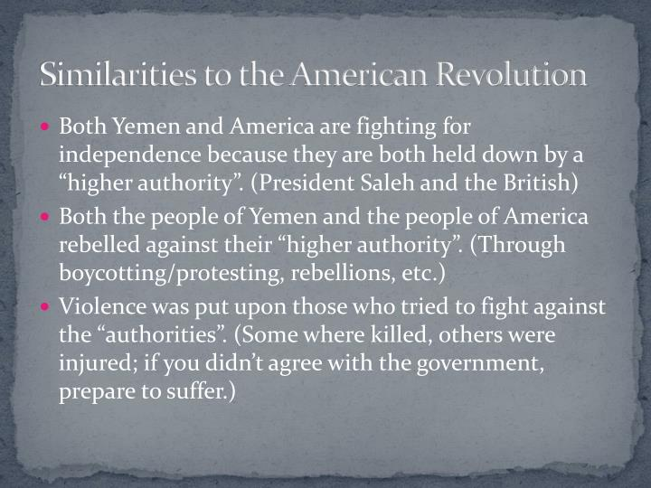 Similarities to the American Revolution