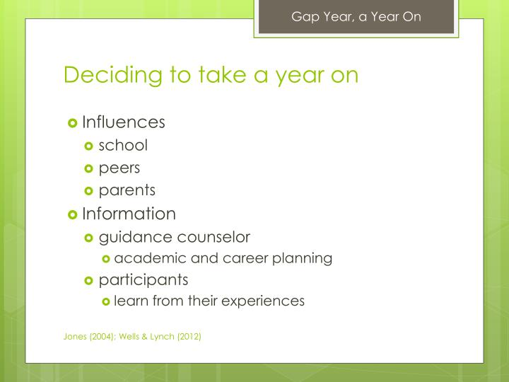 Deciding to take a year on