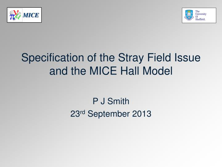 specification of the stray f ield i ssue and the mice hall model n.