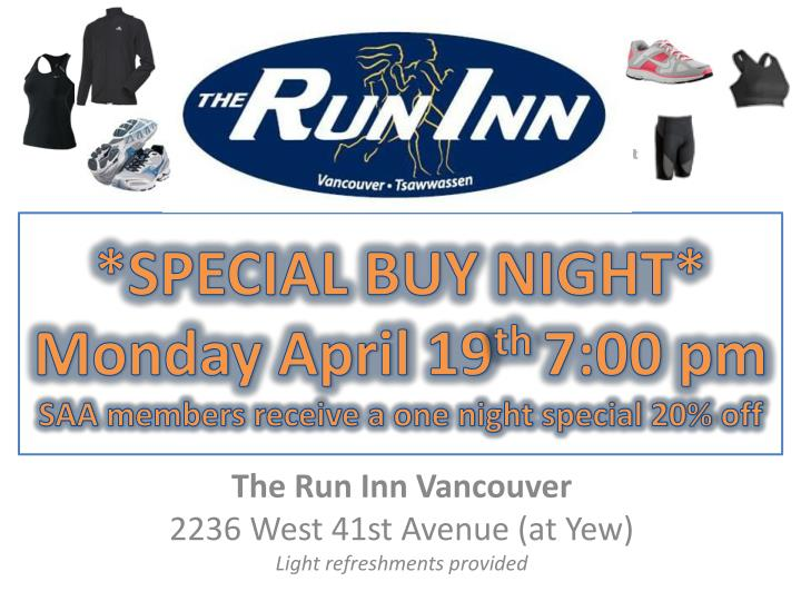 special buy night monday april 19 th 7 00 pm saa members receive a one night special 20 off n.
