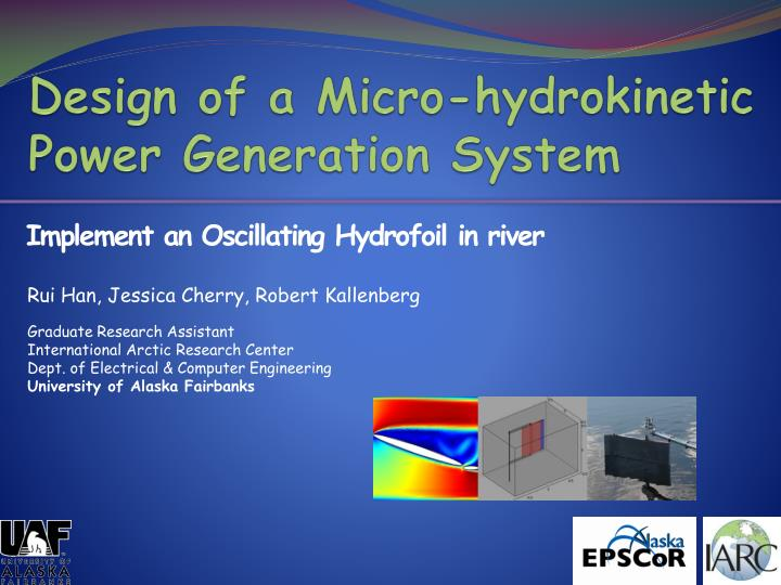 design of a micro hydrokinetic power generation system n.
