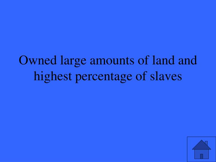 Owned large amounts of land and highest percentage of slaves