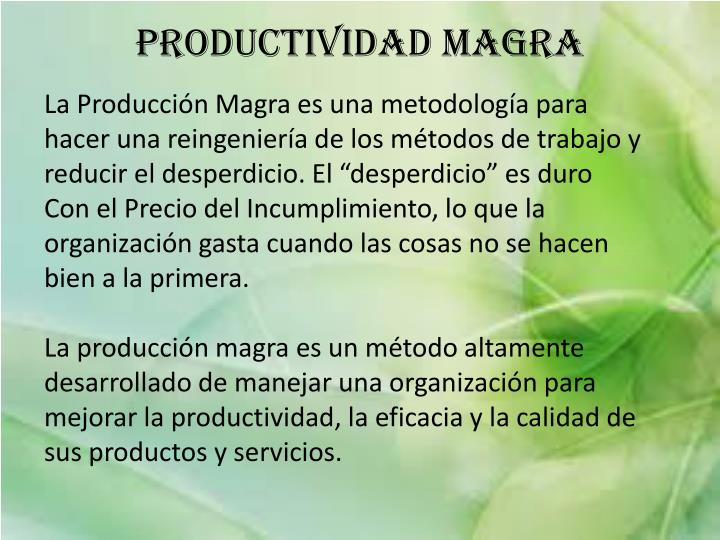 Productividad Magra