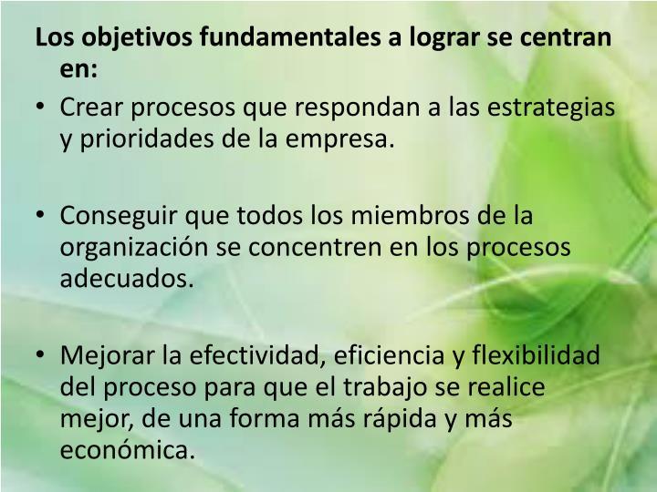 Los objetivos fundamentales a lograr se centran en: