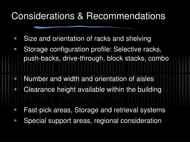 Considerations & Recommendations