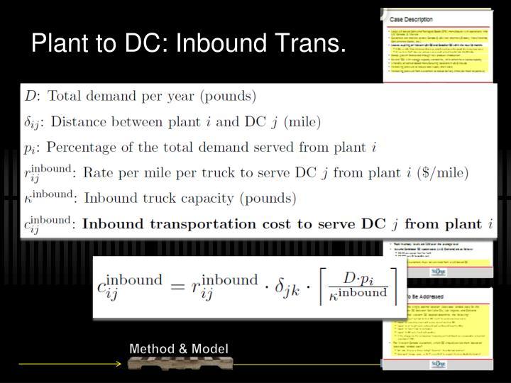 Plant to DC: Inbound Trans.
