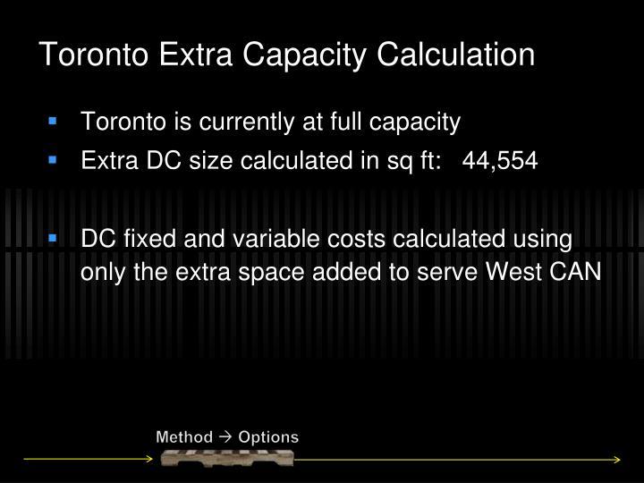 Toronto Extra Capacity Calculation