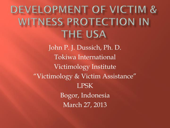 development of victim witness protection in the usa n.