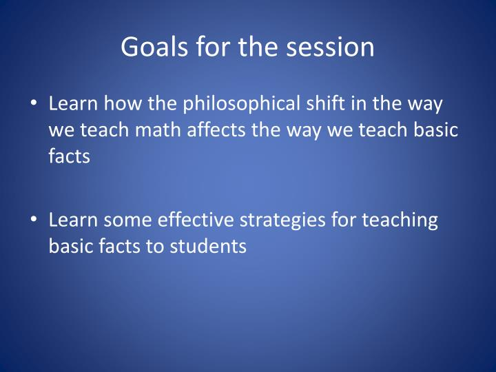 goals for the session n.