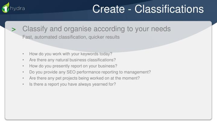 Create - Classifications