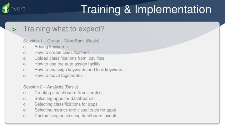 Training & Implementation