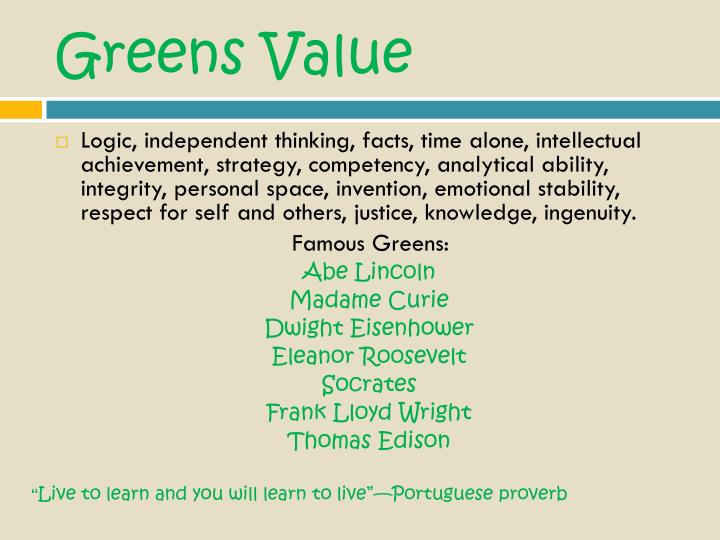 Greens Value