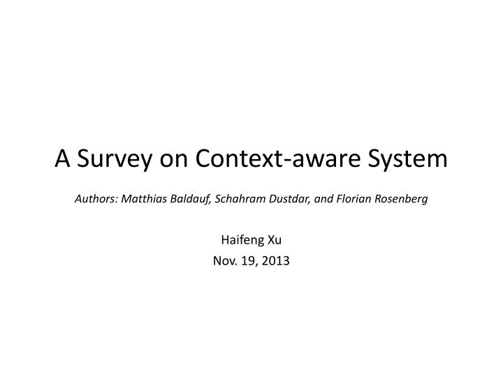 a survey on context aware system n.