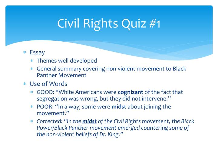 effectiveness of civil rights efforts essay - 739 words The african american civil rights movement in the mid 20th century is still one of the most famous social movements in american history through the motivation of many organizations and individuals, the social status of the average black american advanced ridiculously because of the many efforts.