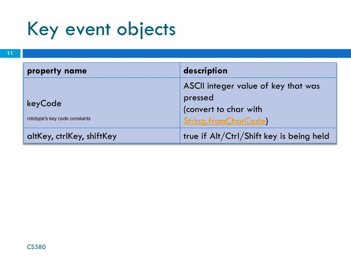 Key event objects