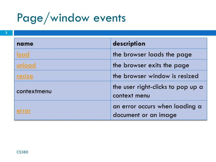Page window events