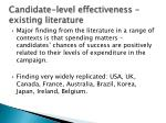 candidate level effectiveness existing literature