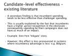 candidate level effectiveness existing literature1
