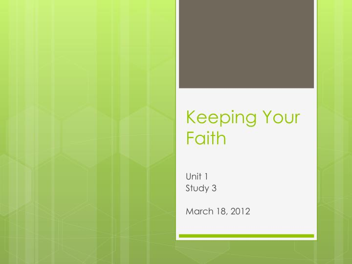 keeping your faith n.