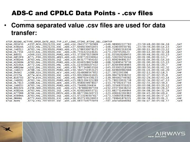 ADS-C and CPDLC Data Points - .
