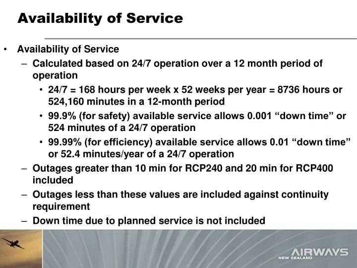 Availability of Service