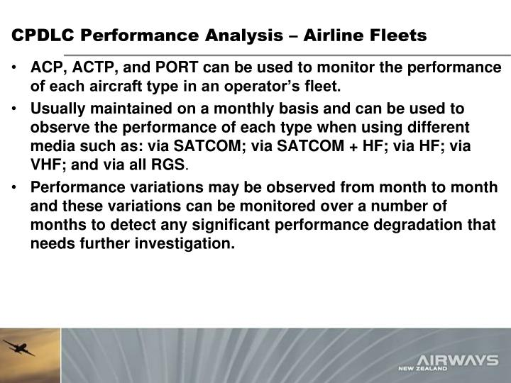 CPDLC Performance Analysis – Airline Fleets