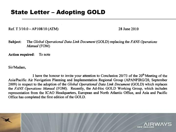 State Letter – Adopting GOLD