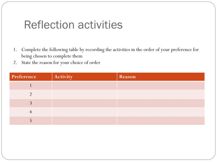 Reflection activities
