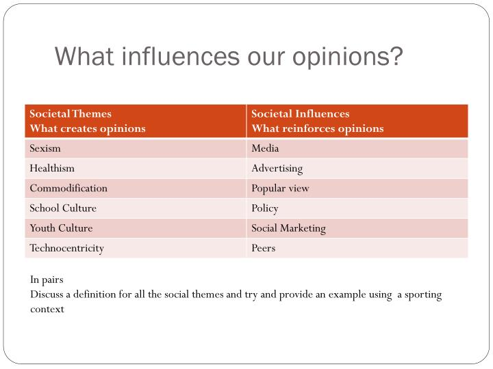 What influences our opinions?