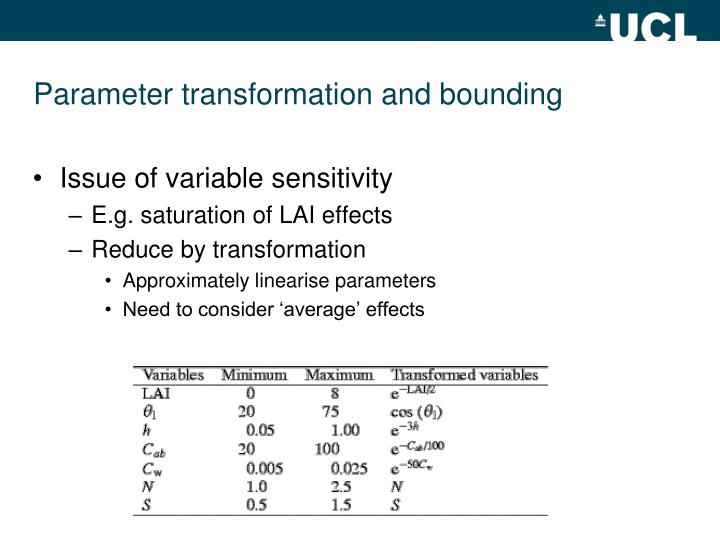 Parameter transformation and bounding